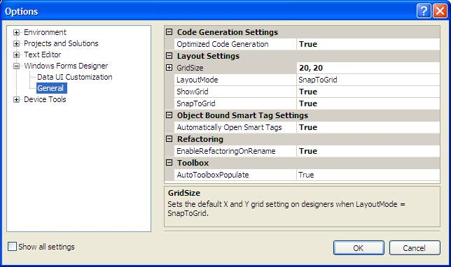 Visual Studio Grid Options