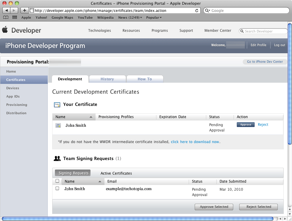 A certificate pending approval in the iOS Provisioning Portal