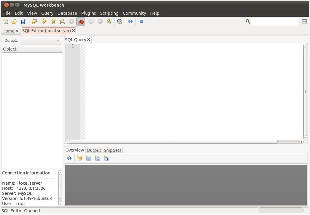 MySQL Workbench SQL Editor screen
