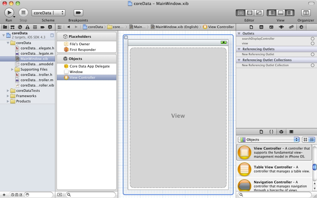 Xcode 4 coredata connecting view controller.jpg