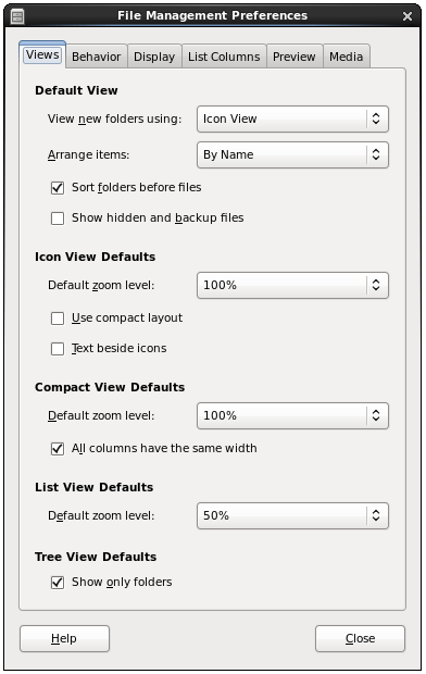 The View Preferences panel of the CentOS 6 file manager