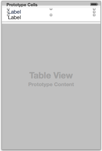 The prototype table cell layout for the MapKit search results table