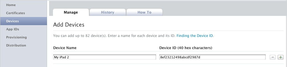 Adding iPad devices in the iOS Provisioning Portal
