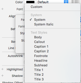 The Xcode font selection panel