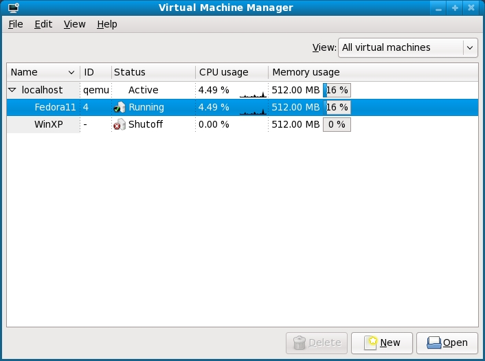 The KVM Virtual Machine Manager with two Guest systems