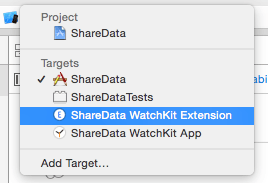 Choosing the WatchKit extension in the Xcode Capabilities panel