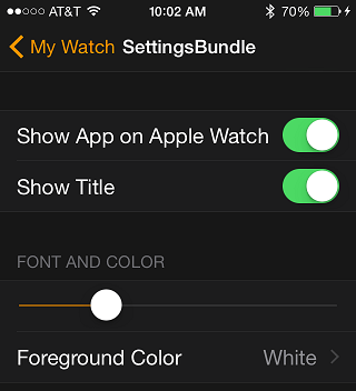 The bundle settings in the Apple Watch app