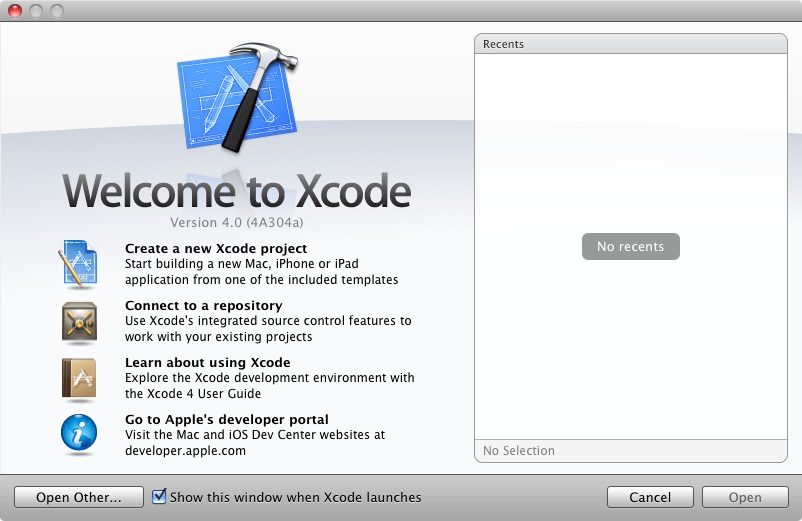 The Xcode 4 Welcome screen