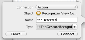 Configuring a Gesture Recognizer connection