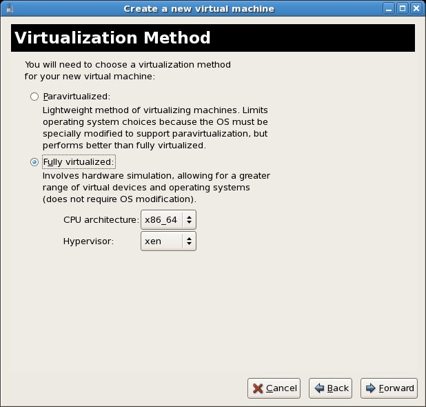 Selecting Xen Full Virtualization for the RHEL Windows guest OS