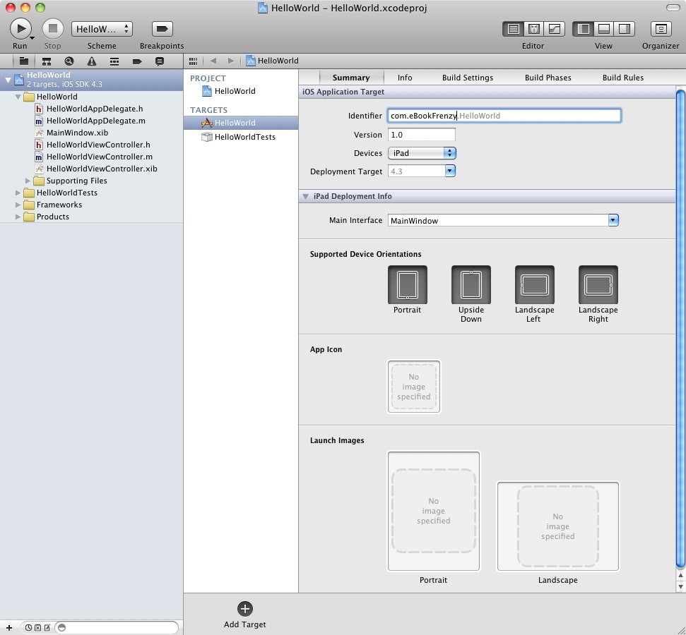 The main Xcode 4 project window after creation of a new iPad app project
