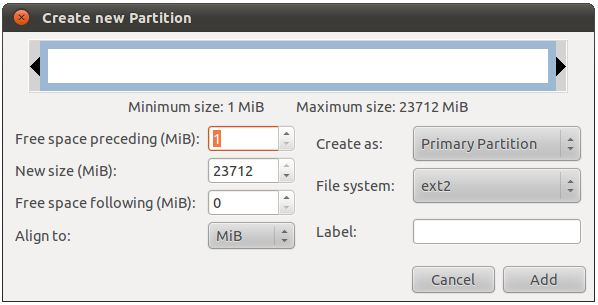 The Ubuntu 11.04 gparted new partition dialog
