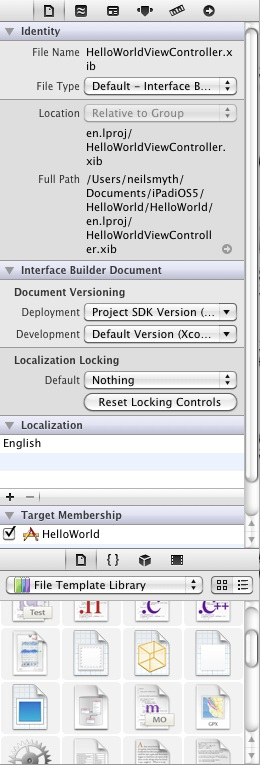 The right hand panel of an Xcode 4.3 window