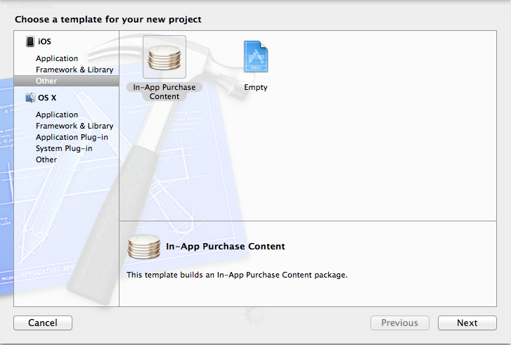 Creating a new In App Purchase Content project in Xcode 5
