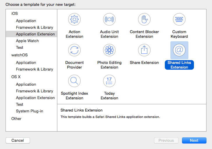 Xcode 7 extension targets.png