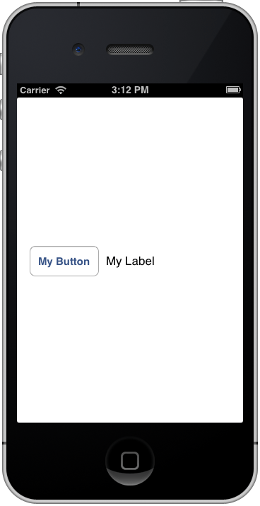 An iOS 6 iPhone Auto Layout Example running