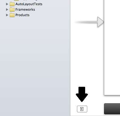 The button to reveal the Document Outline panel in Xcode 5