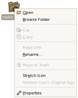 The RHEL desktop item menu