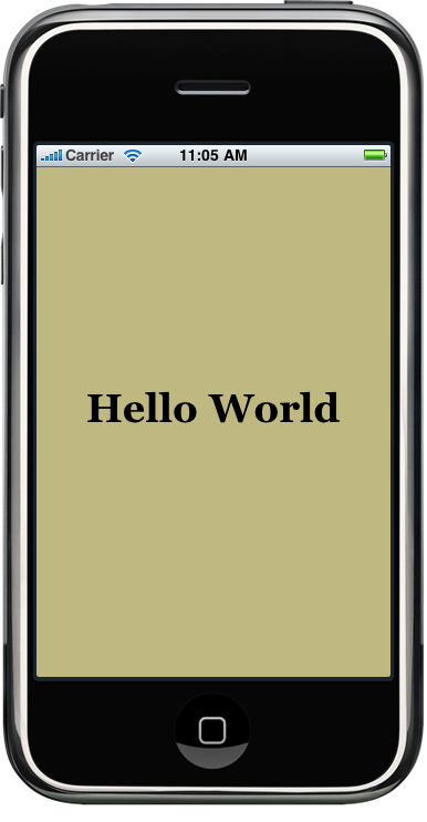 The HelloWorld Example running inside the iPhone SDK Simulator environment