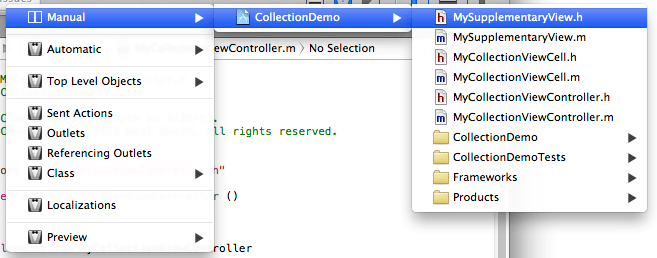 Selecting a different file in the Xcode 5 Assistant Editor