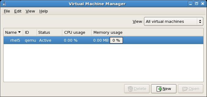 The virtual machine manager running a KVM configured RHEL system