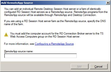 Configuring a RemnoteApp source for a RD Session Broker
