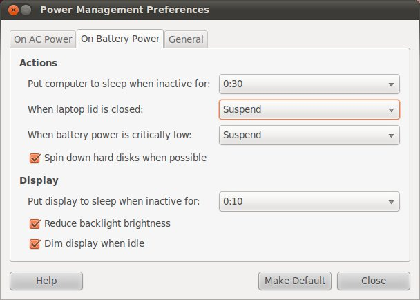 Ubuntu 10.10 Laptop Power Management