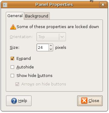 GNOME Desktop Panel Properties