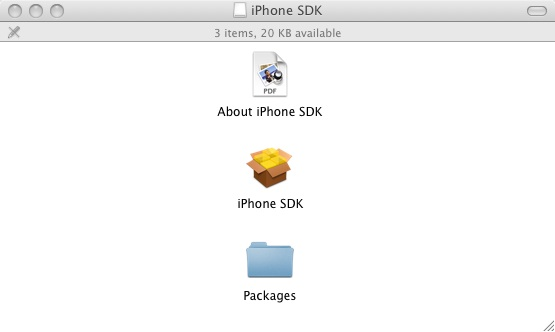 The iPhone SDK .dmg contents