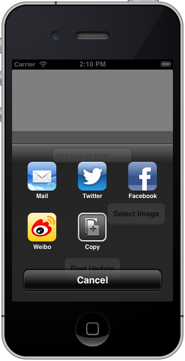 The iPhone iOS 6 UIActivityViewController selection screen