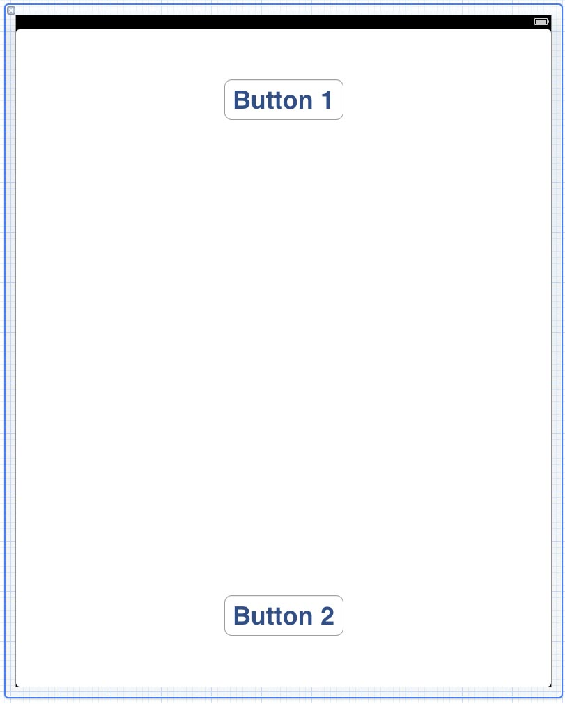 The layout of an example iPad application with 2 small buttons