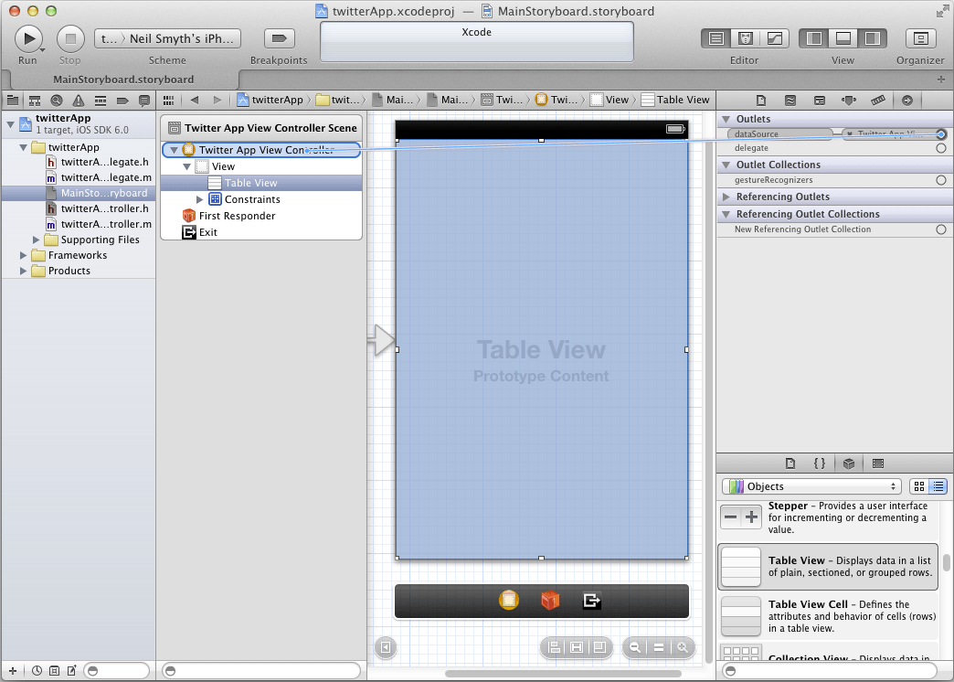 Connecting the TableView Data Source in Xcode