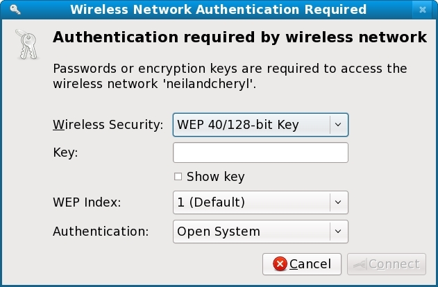 Entering wireless access key