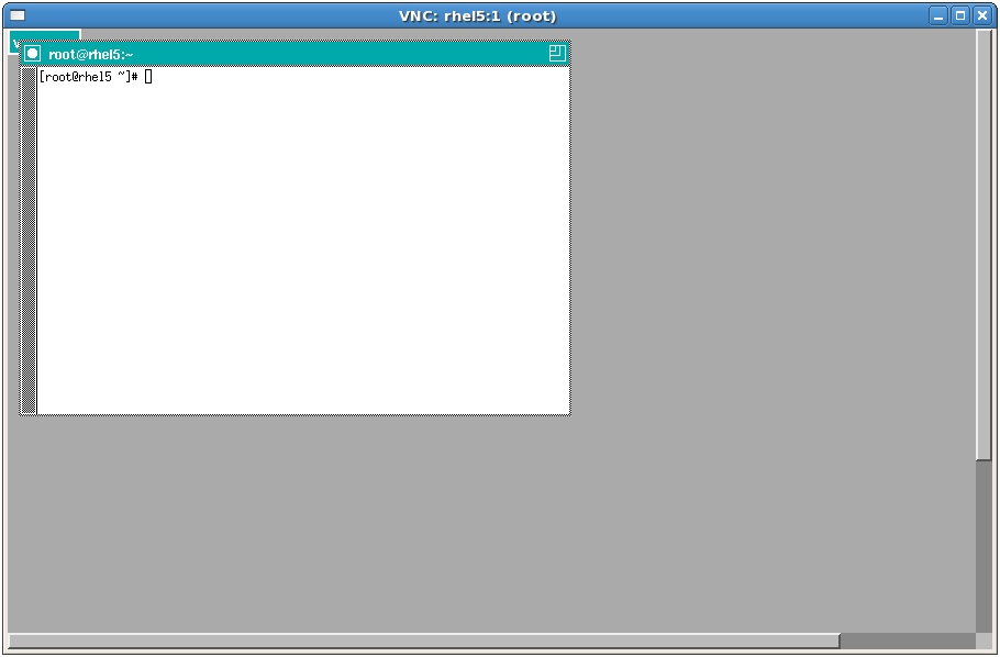 A remote RHEL desktop session running TWM window manager