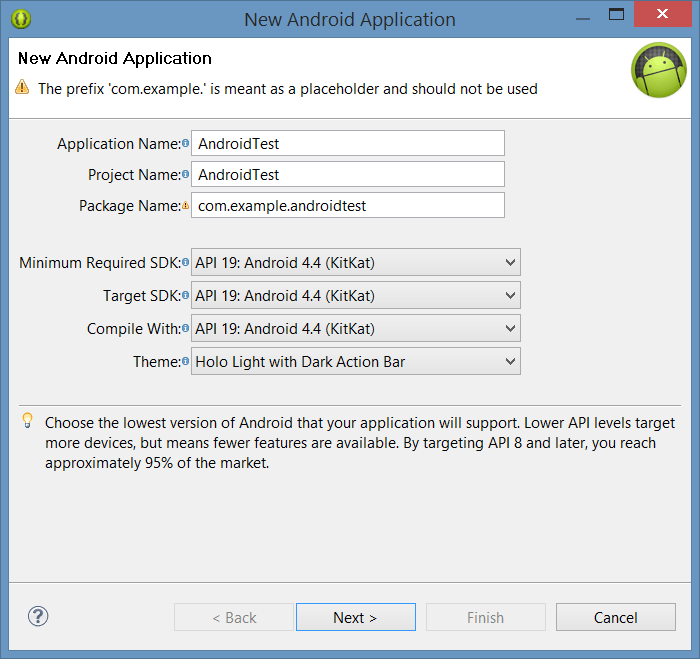 Configuring Android Application Project settings
