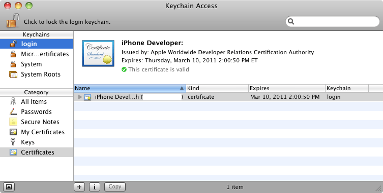 An iOS developer certificate installed in the Keychain
