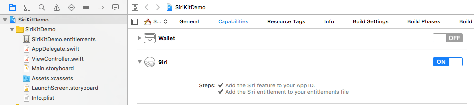 Xcode 8 ios 10 enable siri entitlement.png