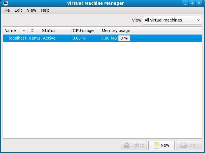 The KVM Virtual Machine Manager Main Screen