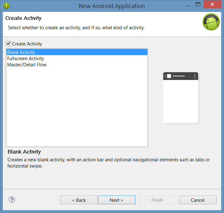 Configuring the activity type for a new Android project
