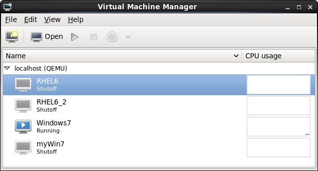 The main window of the virt-manager screen with multiple guests