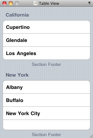 The iOS 4 iPhone Table View in grouped style mode
