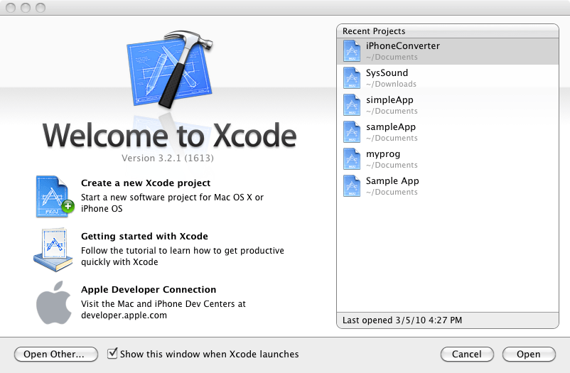 The Xcode Welcome Screen