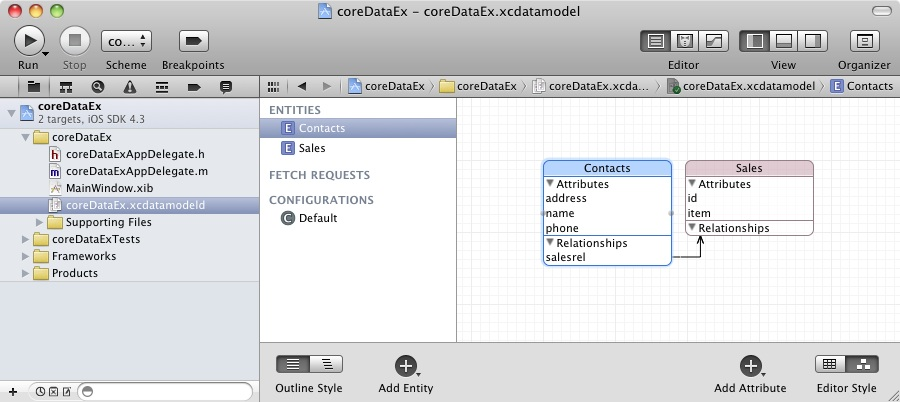 A datamodel with relationship in Xcode 4