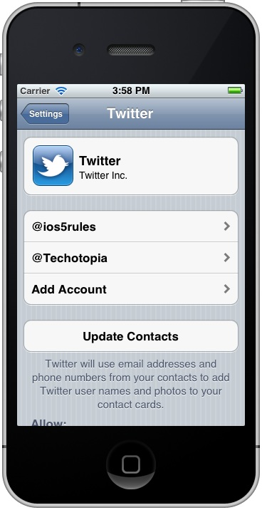 Controlling Twitter accounts using the iPhone iOS 5 Settings application