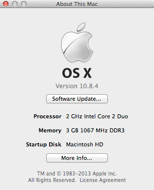 The Mac OS X About This Mac Window