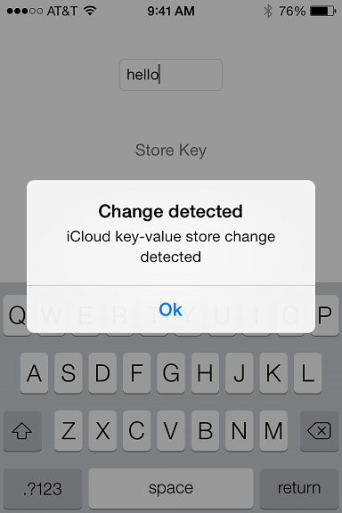 An iOS 7 iCloud  Key-Value store example app running