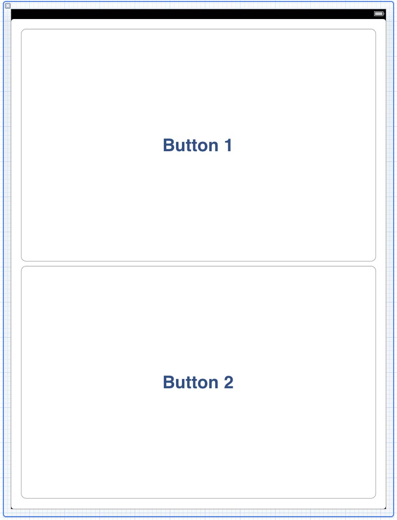 ipad Xcode 4 layout example UI with 2 large buttons
