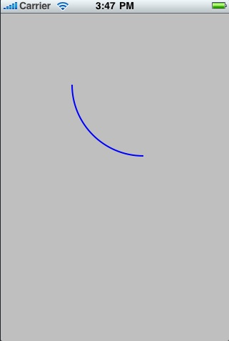 A 2D arc drawn on an iOS 4 iPhone screen