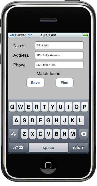 The example iPhone SQLite application running in the iPhone Simulator