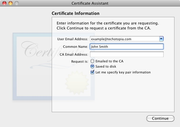 Keychain Access Certificate Assistant